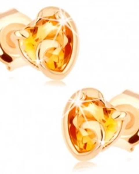 Zlaté náušnice 375 - srdiečko zo žltého citrínu v neúplnom obryse