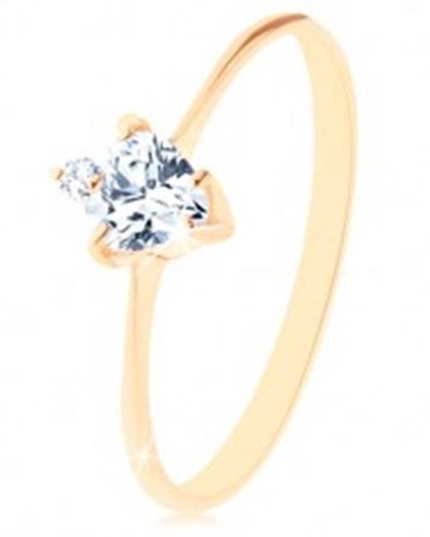 Zlatý prsteň 585 - brúsené zirkónové srdiečko čírej farby, drobný okrúhly zirkónik GG94.60/64/156.71/72 - Veľkosť: 49 mm
