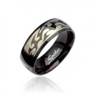 Čierny oceľový prsteň so vzorom Tribal v striebornej farbe - Veľkosť: 59 mm