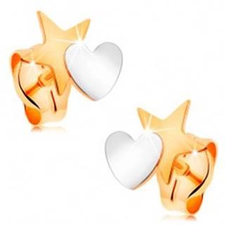 Dvojfarebné náušnice zo 14K zlata - hviezda spojená so srdiečkom, puzetky