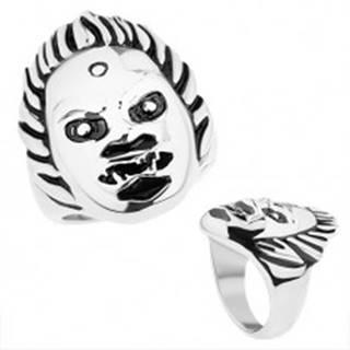 Mohutný oceľový prsteň, lesklý povrch, tvár démona, strieborný odtieň HH12.17 - Veľkosť: 59 mm