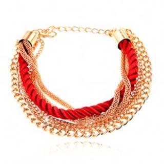 Náramok, pletená červená šnúrka, retiazky zlatej farby, karabínka O3.10