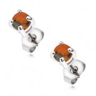 Oceľové puzetové náušnice s okrúhlym oranžovým opálom