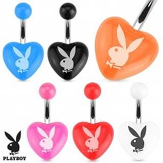 Oceľový piercing do brucha, farebné akrylové srdce, zajac Playboy - Farba piercing: Biela