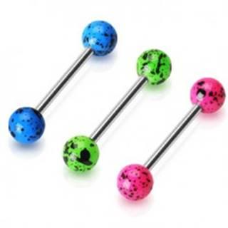Oceľový piercing do jazyka - činka s farebnými fľakatými guličkami - Farba piercing: Modrá