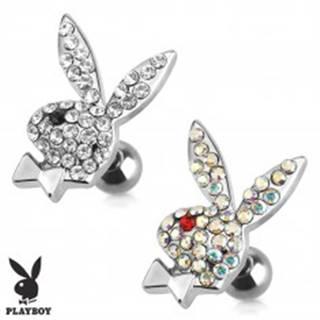 Oceľový piercing do tragusu, zirkónový zajac Playboy - Farba zirkónu: Číra - Čierna