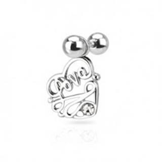 """Oceľový piercing do ucha - nápis """"Love"""" v srdci s čírym zirkónom N23.35"""
