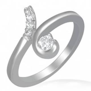 Oceľový prsteň - slučka s okrúhlymi čírymi zirkónmi - Veľkosť: 49 mm