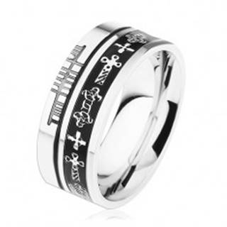 Oceľový prsteň striebornej farby, čierne prúžky, keltské symboly - Veľkosť: 54 mm