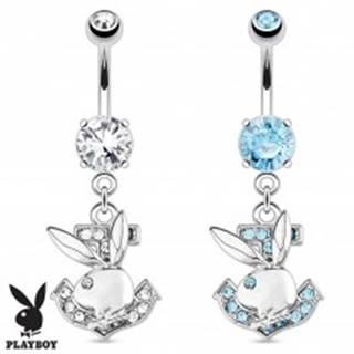 Piercing do brucha z ocele, zirkónová kotva, zajac Playboy - Farba zirkónu: Aqua modrá - Q