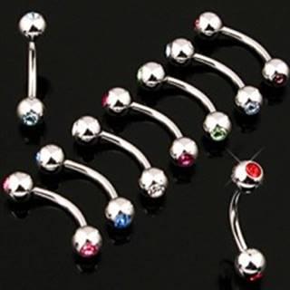 Piercing do obočia jednoduchý s dvojicou zirkónov - Rozmer: 1,2 mm x 10 mm x 3 mm, Farba zirkónu: Číra - C