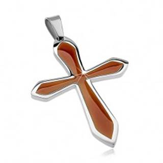 Prívesok z chirurgickej ocele v tvare kríža s hnedou glazúrou G3.16