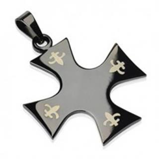 Prívesok z chirurgickej ocele - kríž čiernej farby, Fleur de Lis G11.11