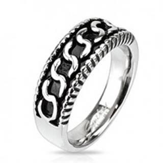 """Prsteň z chirurgickej ocele - vzor v tvare písmena """"S"""", patina - Veľkosť: 59 mm"""
