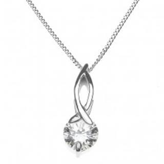 Strieborný náhrdelník 925 - slučka s okrúhlym zirkónom na retiazke