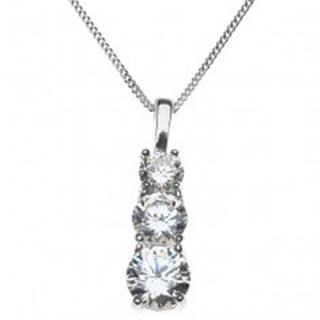 Strieborný náhrdelník 925 - tri zirkóny v zloženej objímke X37.4