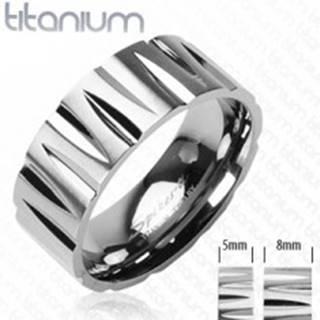 Titánový prsteň zárezy v tvare strely - Veľkosť: 49 mm
