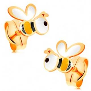 Zlaté náušnice 585 - roztomilé včeličky s farebnou glazúrou, puzetky