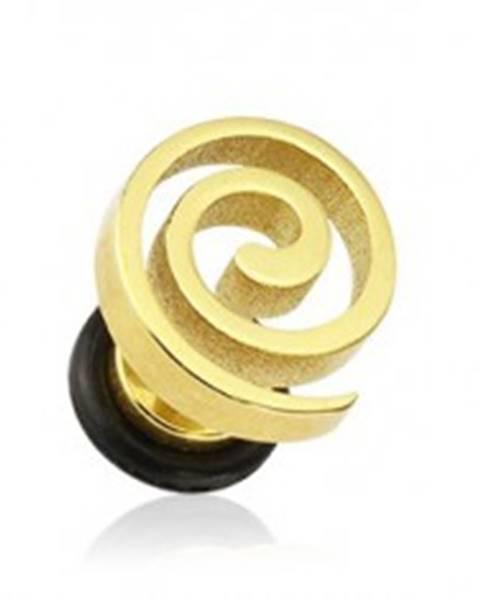 Falošný plug do ucha - špirála zlatej farby F12.8