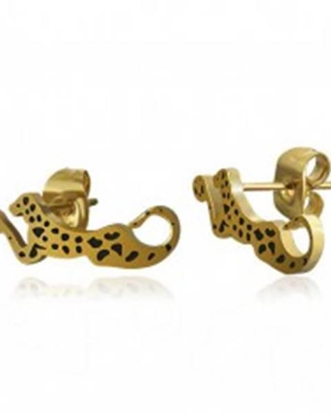 Oceľové náušnice zlatej farby - ležiaci leopard s čiernymi škvrnami