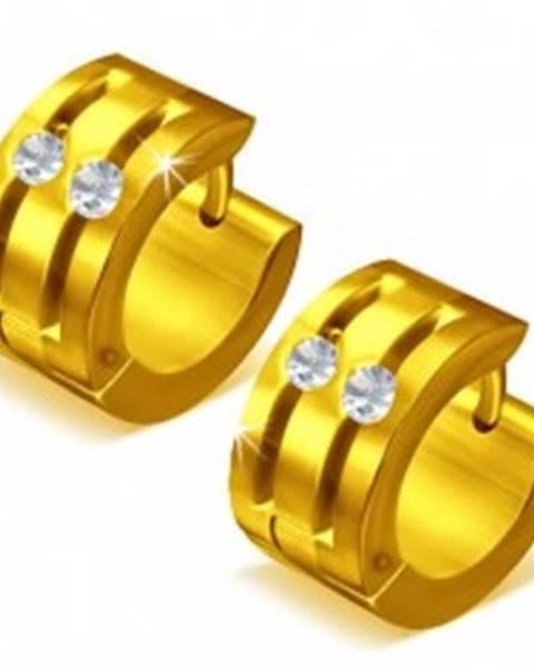 4b1b09efc Okrúhle oceľové náušnice - zlatá farba, dve ryhy zdobené zirkónmi X6 ...