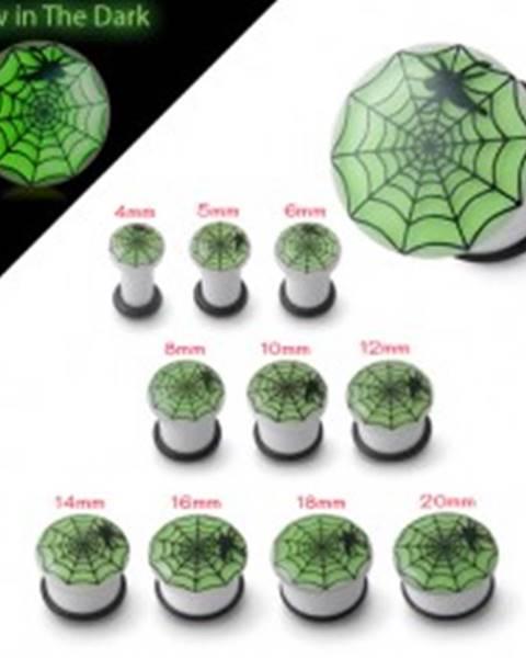 Plug do ucha bielej farby svietiaci v tme, pavučina a pavúk - Hrúbka: 10 mm