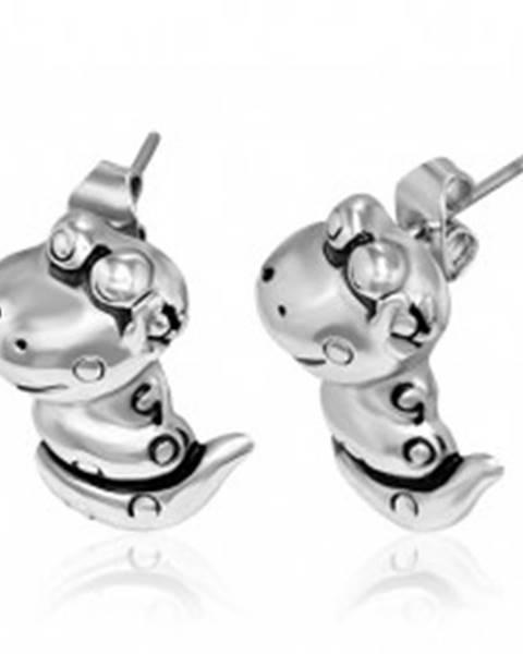 Puzetové náušnice z ocele - usmievajúci had V13.18