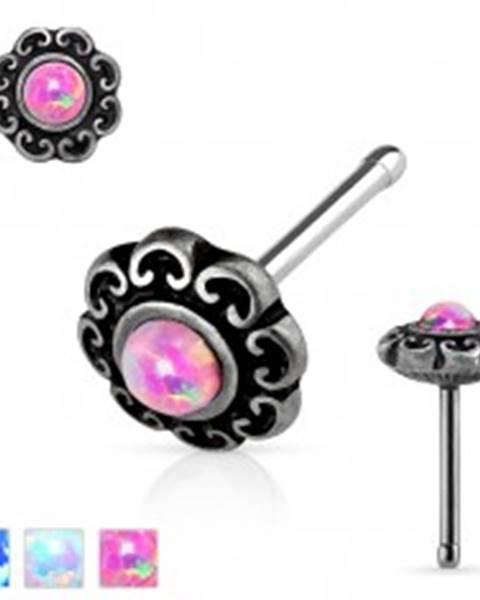 Rovný oceľový piercing do nosa, patinovaný kvet so syntetickým opálom - Farba piercing: Biela