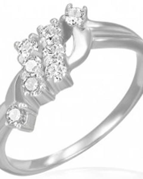 Snubný prsteň - dva šikmé zirkónové pruhy  - Veľkosť: 49 mm