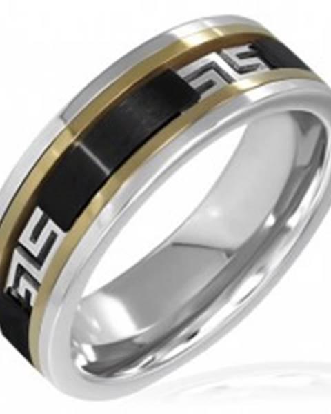 Trojfarebný prsteň - čierny pás, grécky vzor - Veľkosť: 55 mm