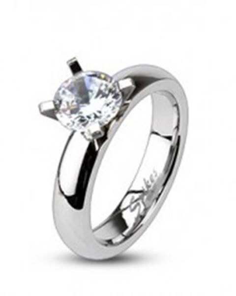 Zásnubný prsteň z ocele - vystupujúci veľký okrúhly zirkón F5.4 - Veľkosť: 49 mm