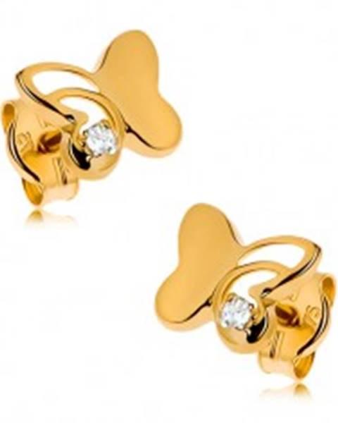 Zlaté náušnice 375 - lesklý motýľ s vyrezávanou časťou, okrúhly zirkón čírej farby
