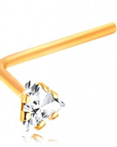 Zlatý 14K piercing do nosa - zahnutý - číry zirkónový trojuholník