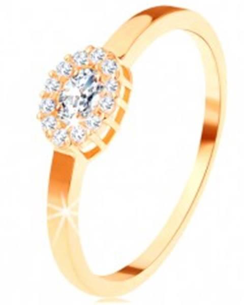 Zlatý prsteň 585 - oválny číry zirkón lemovaný okrúhlymi zirkónikmi - Veľkosť: 49 mm