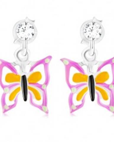 11e076310 Puzetové strieborné náušnice 925 s krištáľom Swarovski, fialovo-žltý  motýlik PC15.34