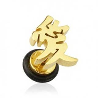 Fake plug do ucha - zlatá farba ázijský symbol lásky F12.5