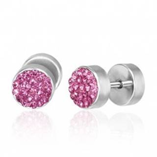 Falošný piercing do ucha - ružové zirkóny, pár