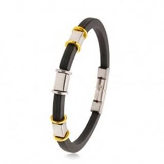 Gumený čierny náramok so zárezmi, oceľové ozdoby striebornej a zlatej farby AB35.06