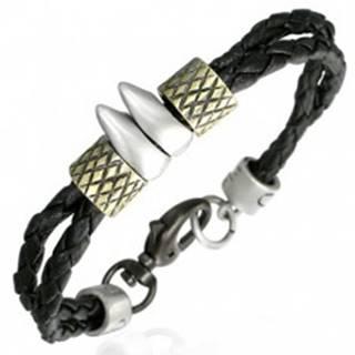Kaučukový náramok - dve šnúrky, zúbky, prstence