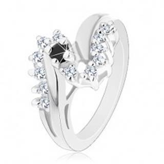 Lesklý prsteň s rozdvojenými ramenami, okrúhly čierny zirkón, ligotavá línia - Veľkosť: 52 mm