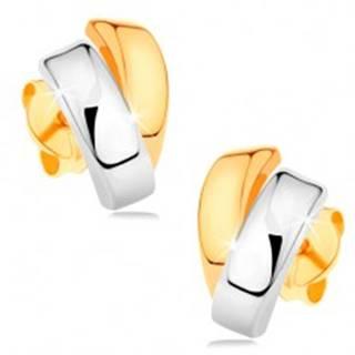Ligotavé náušnice zo 14K zlata - dvojfarebné zahnuté línie, puzetové zapínanie