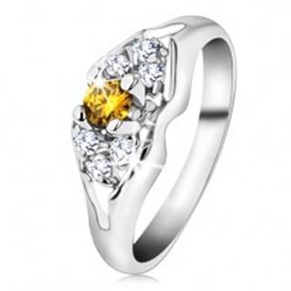 Ligotavý prsteň v striebornej farbe, rozdelené ramená, žlto-číre zirkóny - Veľkosť: 54 mm