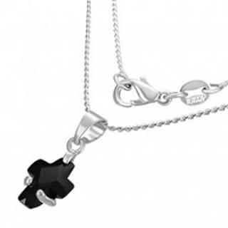 Náhrdelník - čierny zirkónový krížik A21.8