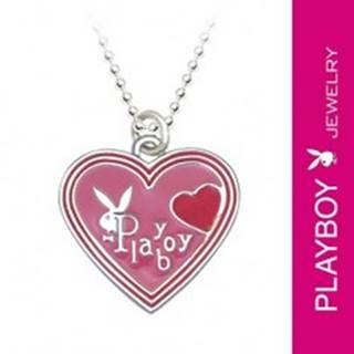 Náhrdelník PLAYBOY - ružové glazúrované srdiečko so zajačikom S8.4