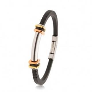 Náramok z čiernej gumy so zárezmi, oceľový valček, dvojfarebné štvorce AB35.07