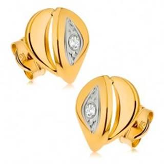 Náušnice zo žltého 9K zlata - slza tvorená z dvoch častí, číry zirkónik, ródiované
