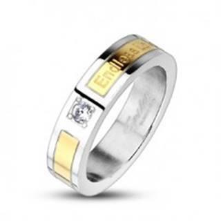 Oceľová obrúčka pás zlatej farby - Endless Love, zirkón F5.1 - Veľkosť: 49 mm
