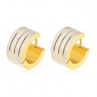 Oceľové náušnice zlatej a striebornej farby, zvislé pásy s ryhovaným povrchom SP58.26
