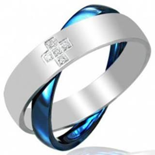 Oceľový dvojprsteň, modro - striebornej farby - Veľkosť: 45 mm