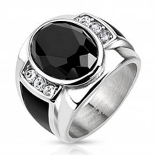 Oceľový prsteň s čiernym brúseným oválom, čírymi zirkónmi a čiernymi pásmi AB09.01 - Veľkosť: 59 mm